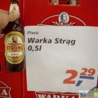 Piwo Warka Strong w Tesco