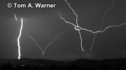 Slow Motion - Multiple tower upward lightning flash captured at 9,000 images per second in Rapid City, SD on 6 16 10